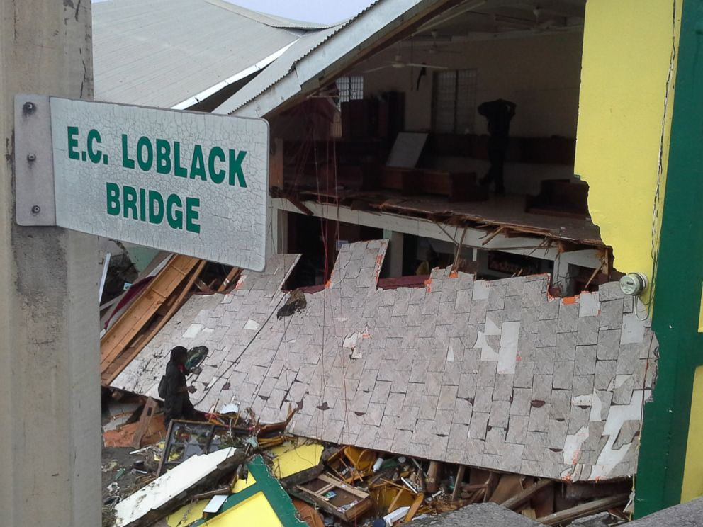 PHOTO:The Beran protestant church is partially collapsed, Aug. 27, 2015, due to Tropical Storm Erika in Roseau, Dominica.