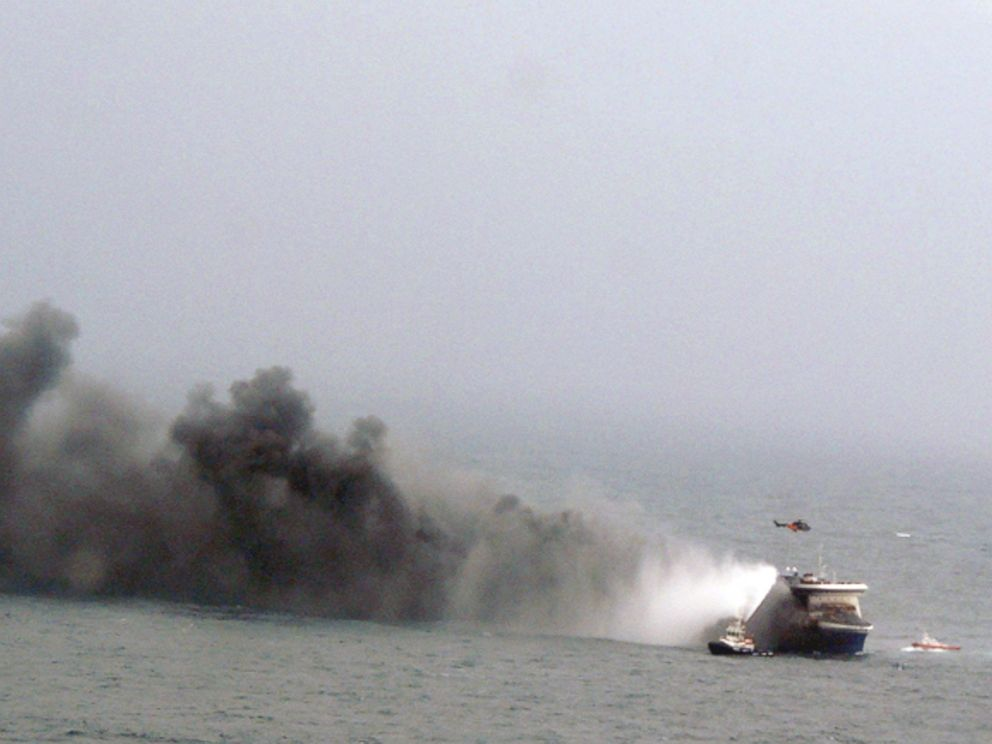 PHOTO: In this image provided by the Italian Navy, smoke billows from the Italian-flagged Norman Atlantic after it caught fire in the Adriatic Sea, Dec. 28, 2014.