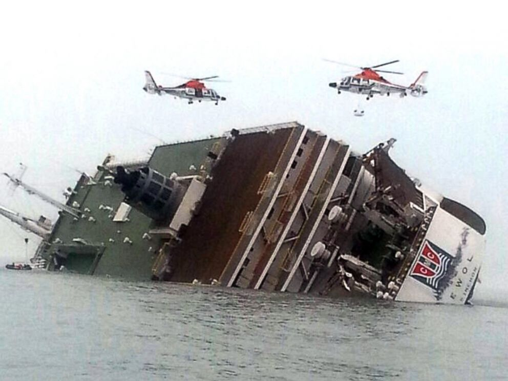 PHOTO: Rescue crews respond after a ferry sank off the coast of South Korea, April 16, 2014.