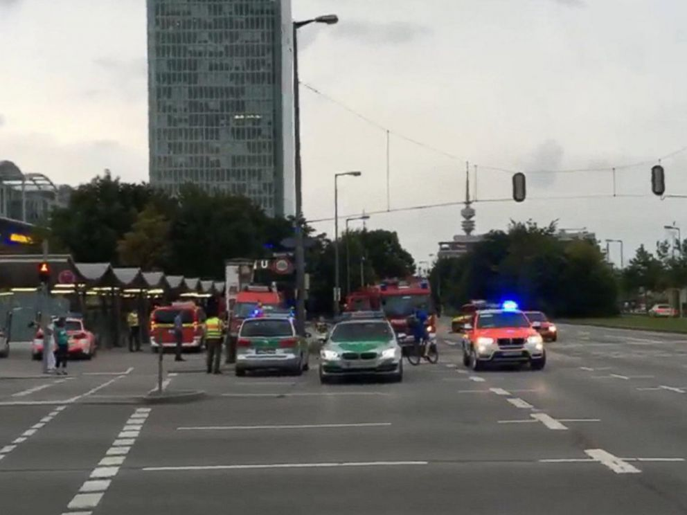 PHOTO: Police in Munich, Germany respond to a shooting at a shopping center in Munich, Friday, July 22, 2016. Munich police confirm shots have been fired at Olympia Einkaufszentrum shopping center but say they dont have any details.