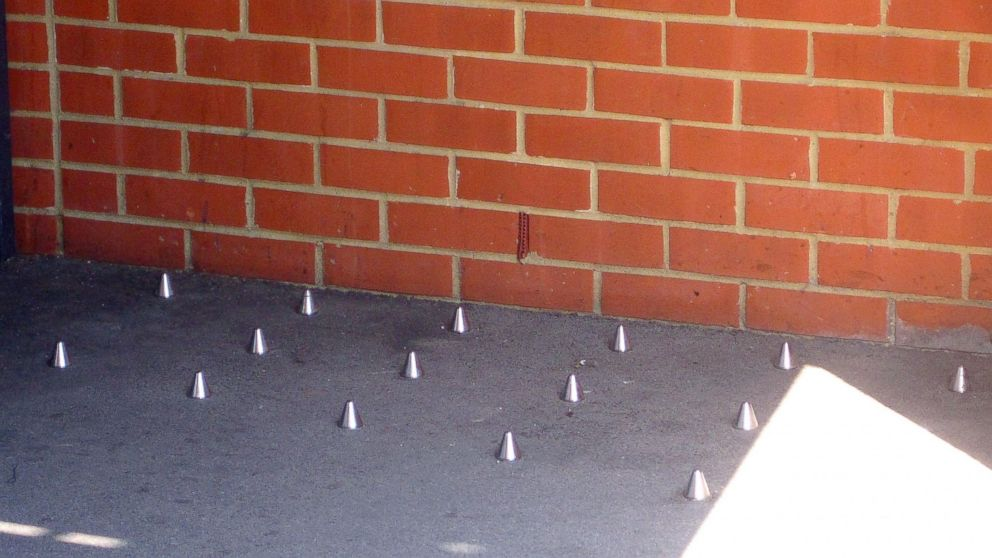 PHOTO: Metal spikes in the ground outside 118 Southwark Bridge Road, London, after Mayor Boris Johnson weighed into the row about the spikes, which were installed to prevent homeless people sleeping outside a London building.