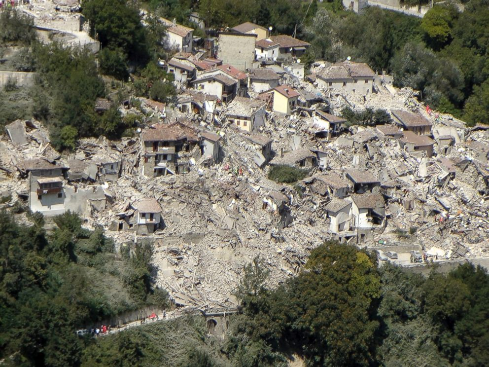 PHOTO: This aerial photo taken Wednesday, Aug. 24, 2016 and made available Thursday, Aug. 25, 2016 shows the damage done after an earthquake in the village of Pescara del Tronto.