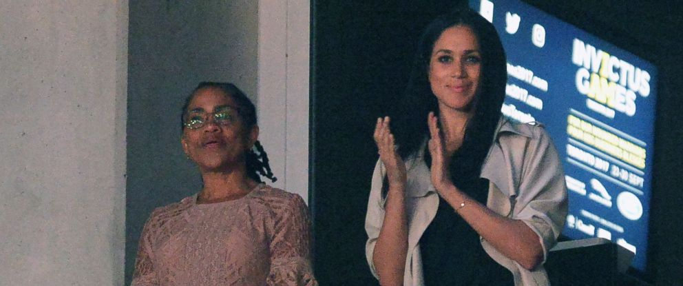 Meghan Markle, right, watches the closing ceremonies of the Invictus Games with her mother Doria Radlan in Toronto on Saturday, Sept. 30, 2017.