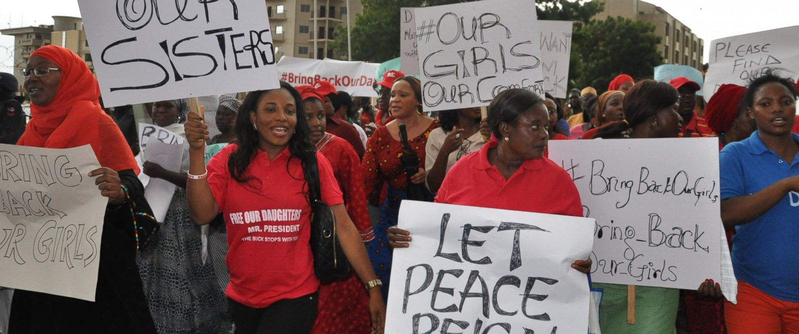 PHOTO: Women attend a demonstration calling on the government to rescue kidnapped schoolgirls of a government secondary school Chibok, in Abuja, Nigeria. Wednesday, April 30, 2014.