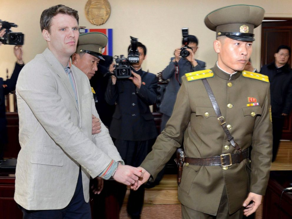 PHOTO: A photo provided by the official Korean Central News Agency shows US student Otto Frederick Warmbier at his trial held by The Supreme Court of the Democratic Peoples Republic of Korea, in Pyongyang, North Korea, on March16, 2016.