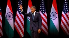 PHOTO: U.S. President Barack Obama waves to the gathering after delivering a speech at the Siri Fort Auditorium, a government-run event center, in New Delhi, India, Jan. 27, 2015.