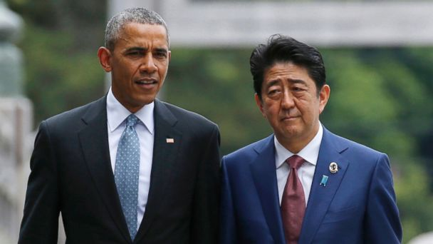 PHOTO: President Obama and Japan's Prime Minister Shinzo walk on the Ujibashi bridge as they visit the Ise Jingu shrine in Ise, Mie prefecture, Japan, May 26, 2016, ahead of the first session of the G-7 summit meetings.