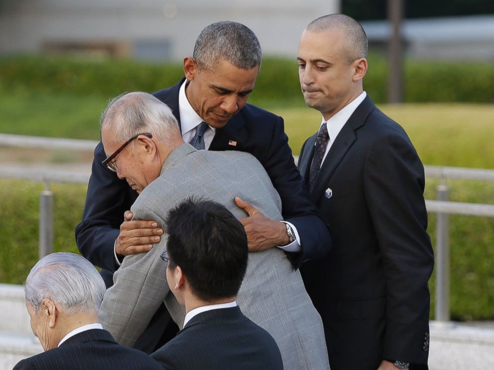 PHOTO: President Barack Obama hugs Shigeaki Mori, an atomic bomb survivor and a creator of the memorial for American WWII POWs killed in Hiroshima, during a ceremony at Hiroshima Peace Memorial Park in Hiroshima, western, Japan, May 27, 2016.