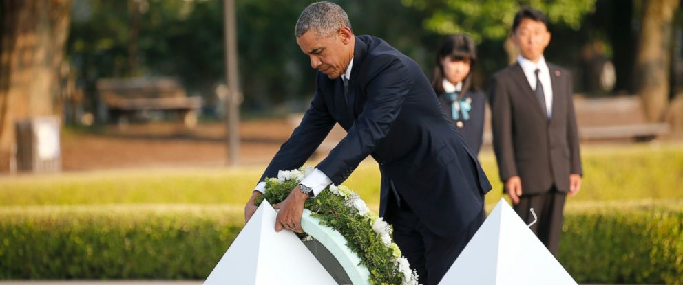 PHOTO: U.S. President Barack Obama lays a wreath at Hiroshima Peace Memorial Park in Hiroshima, western, Japan, May 27, 2016. Obama became the first sitting U.S. president to visit the site of the worlds first atomic bomb attack.