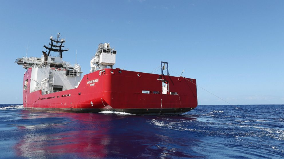 PHOTO: The Australian Defense vessel Ocean Shield tows a pinger locator during the search for missing Malaysia Airlines Flight 370, April 4, 2014.