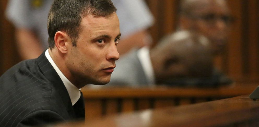 Oscar Pistorius sits in the dock in court in Pretoria, South Africa, Sept. 12, 2014.