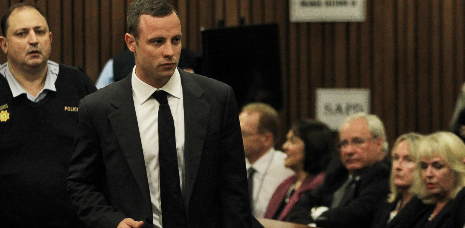 PHOTO: Oscar Pistorius arrives for his trial at the high court in Pretoria, South Africa, Monday, March 3, 2014.