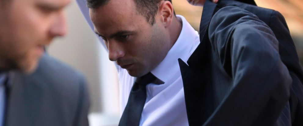 PHOTO: Oscar Pistorius arrives at the high court in Pretoria, South Africa, April 10, 2014.