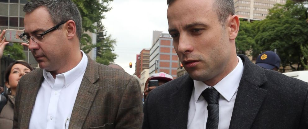 PHOTO: Oscar Pistorius arrives at the high court in Pretoria, South Africa, April 14, 2014.
