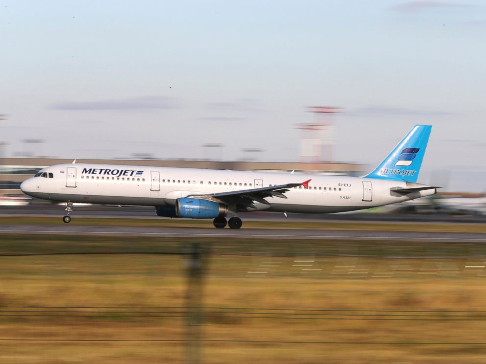 PHOTO: In this photo taken on Tuesday, Oct. 20, 2015, The Russian airline Kogalymavia?s Airbus A321 with a tail number of EI-ETJ on an airstrip of Moscow?s Domodedovo international airport, outside Moscow, Russia.