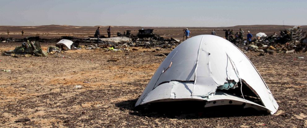 PHOTO: In this Nov. 1, 2015 file photo, debris of a Russian airplane is seen at the site a day after the passenger jet bound for St. Petersburg, Russia, crashed in Hassana, Egypt.