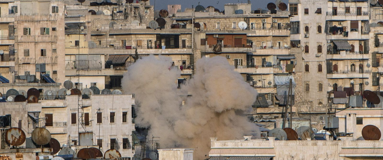 PHOTO: Gas cylinder shelling in a residential area of Aleppo, Syria, Feb. 18, 2016.