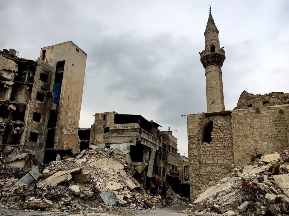 PHOTO:This 12th-16th-century set of buildings was included into the UNESCO World Heritage list in 1986 and is now destroyed due to the civil war in Aleppo, Syria.