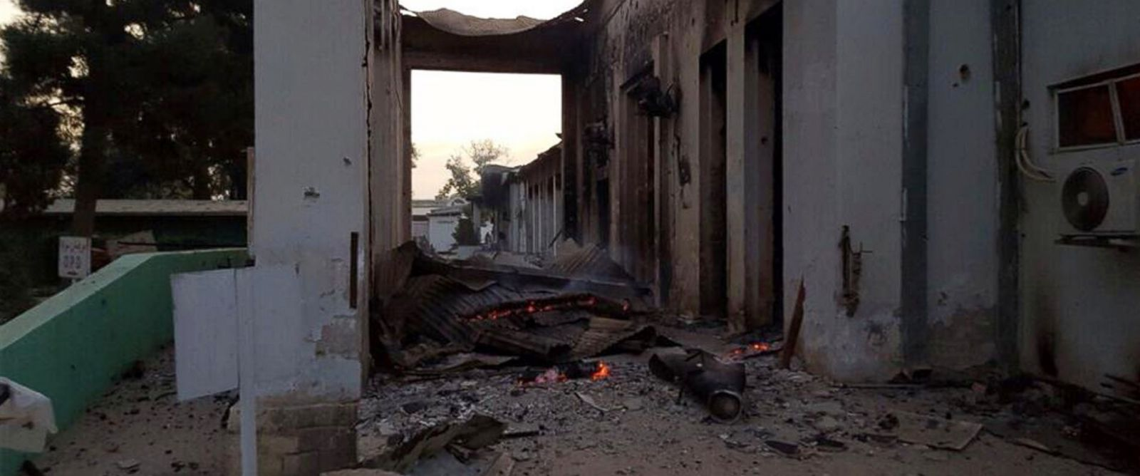 PHOTO: The burnt Doctors Without Borders hospital is seen after an explosion in the northern Afghan city of Kunduz, Oct. 3, 2015.