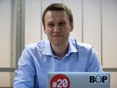 PHOTO: Russian opposition activist and anti-corruption crusader Alexei Navalny smiles in a court room in Moscow, Russia, Dec. 19, 2014.
