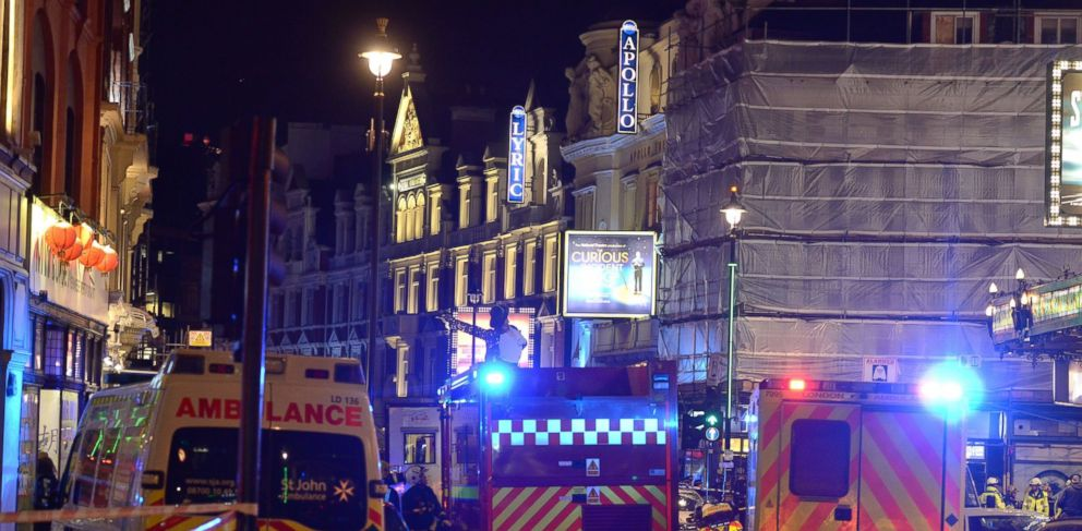 PHOTO: Emergency services attend the scene at the Apollo Theatre in Shaftesbury Avenue, central London, Dec. 19, 2013.