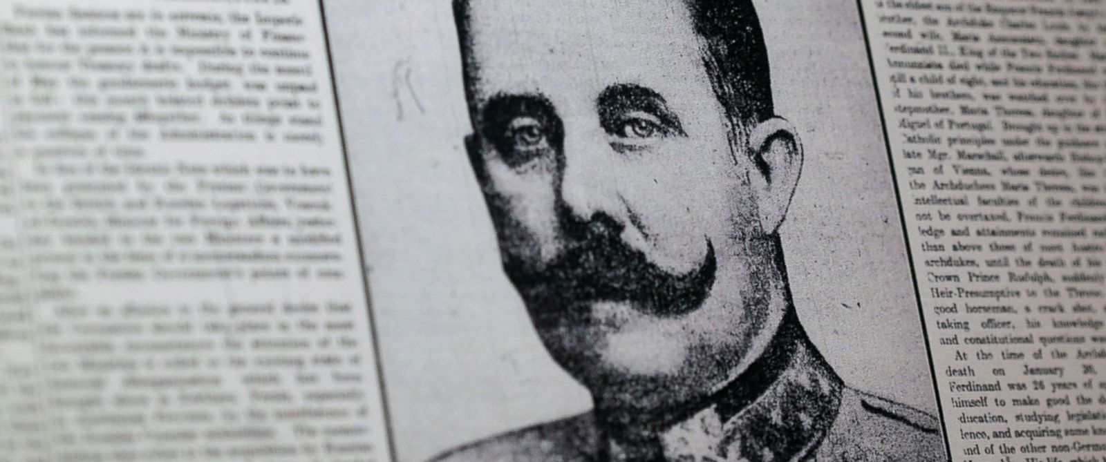 PHOTO: This April 4, 2014 photo shows a reproduction of a London newspaper front page from 1914, which writes about the assassination of Archduke Franz Ferdinand, on display at the National World War I Museum in Kansas City, Mo.