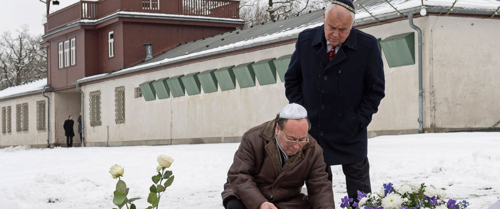 PHOTO: Ilja Rabinovitch, left, and Reinhard Schramm, of the Jewish community in Thuringia, lay down a wreath during the international Holocaust remembrance day at the former Nazi concentration camp Buchenwald near Weimar, Germany, Jan. 27, 2015.