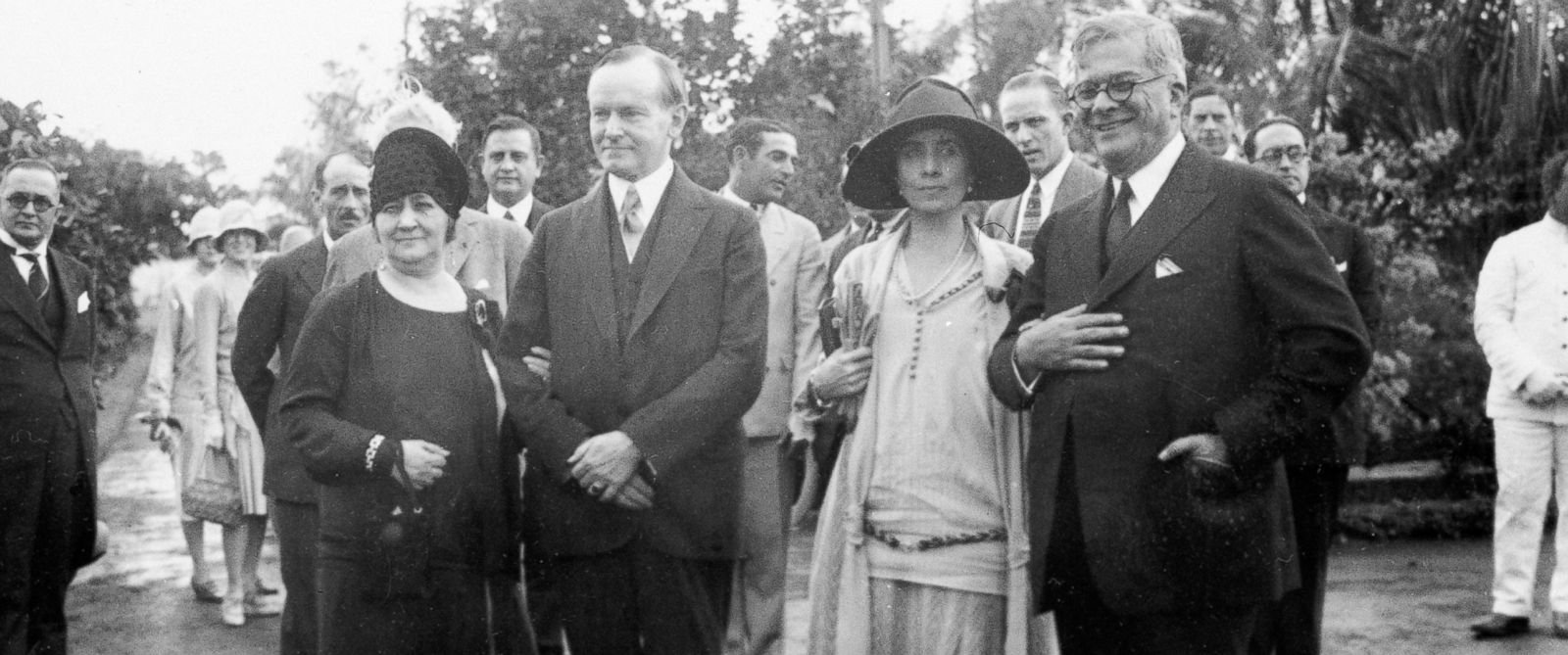 PHOTO: U.S. President Calvin Coolidge and his wife, first lady Grace Coolidge are shown with the President of Cuba General Gerardo Machado y Morales and his wife, Elvira Machado on the estate of President Machado in Havana, Cuba, Jan. 19, 1928.