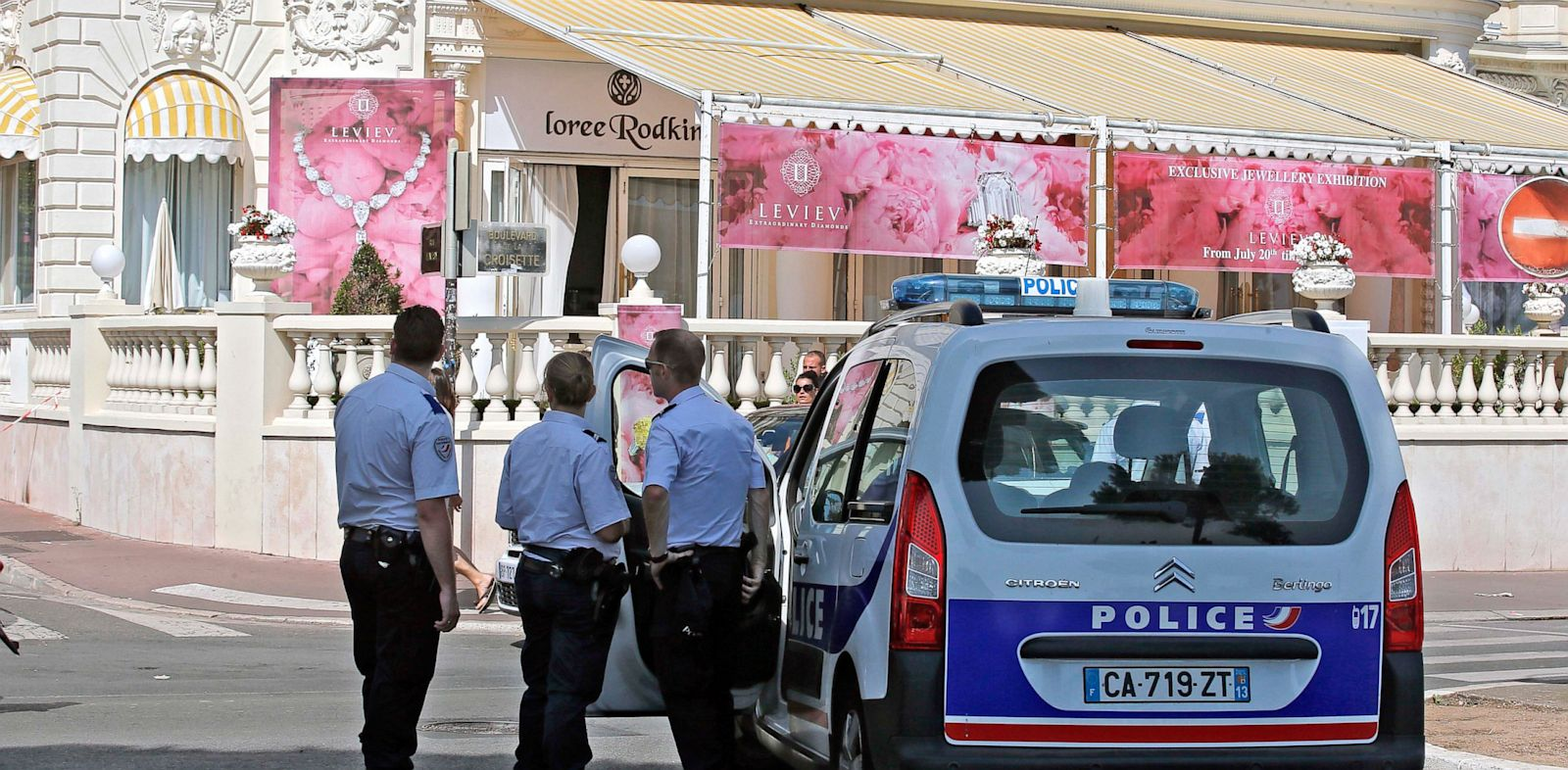 PHOTO: Police stand outside the Carlton hotel, in Cannes, southern France