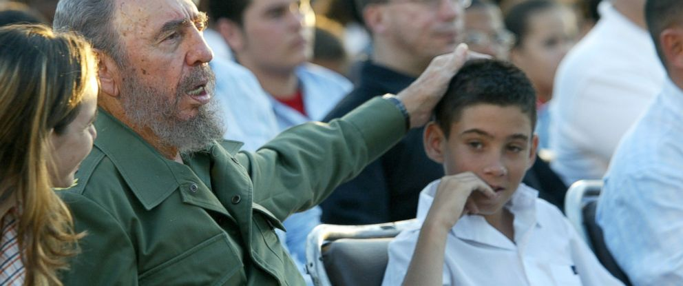 PHOTO: Cuban President Fidel Castro puts his hand on the head of Elian Gonzalez, Dec. 6, 2005, in Cardenas Cuba.