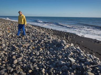 PHOTO: Johnny Begue, 46, who says he found the piece of aircraft debris that is being investigated, walks on Bois-Rouge beach where the debris was washed up, near to Saint-Andre on the north coast of the Indian Ocean island of Reunion, July 31, 2015.
