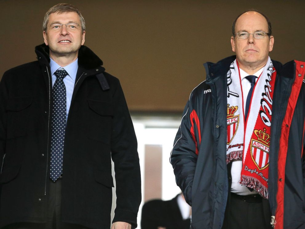 PHOTO: President of AS Monaco Dmitry Rybolovlev, left, and Prince Albert II Of Monaco, as they attend the French League One soccer match Monaco vs Marseille, in Monaco stadium in this Jan. 26, 2014 file photo.
