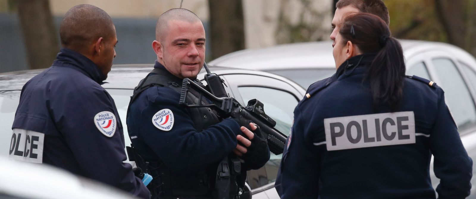 PHOTO: Police officers patrol near a pre-school, after a masked assailant with a box-cutter and scissors attacked a teacher, Dec.14, 2015 in Paris suburb Aubervilliers.
