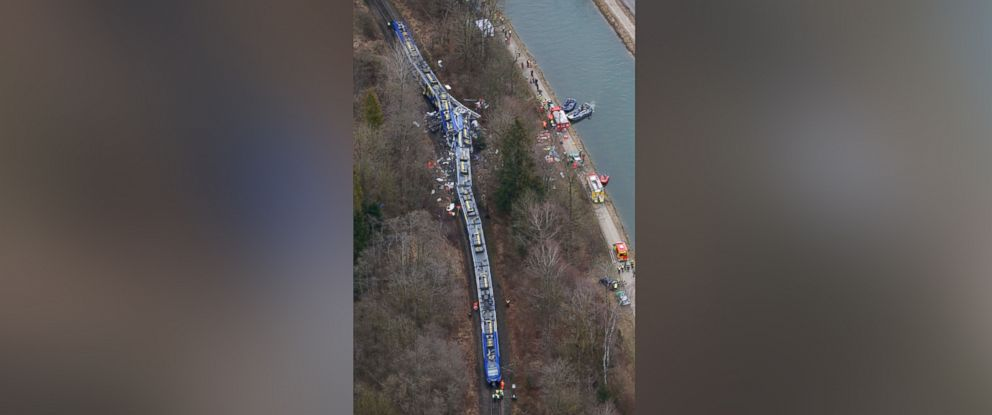 PHOTO: Aerial view of rescue teams at the site where two trains collided head-on near Bad Aibling, Germany on Feb. 9, 2016. Several people have been killed and dozens were injured.
