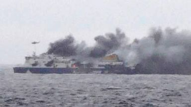 PHOTO: In this photo taken from a nearby ship, smoke rises from the Italian-flagged Norman Atlantic after it caught fire in the Adriatic Sea, Dec. 28, 2014.