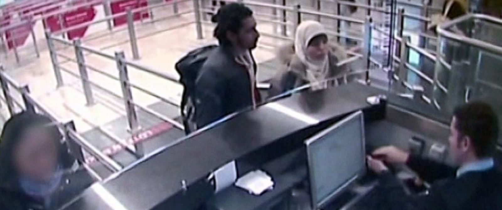 PHOTO: Turkish media reported that video has emerged apparently showing Hayat Boumeddiene, right, traveling through Istanbul airport, Jan. 2, 2015 next to an unidentified man, left.