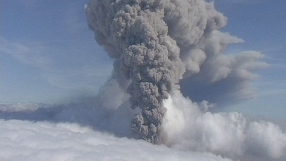 PHOTO: This is a May 8, 2010 file image taken from video of a column of ash rising from Icelands Eyjafjallajokul volcano.