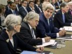 PHOTO: U.S. Secretary of State John Kerry, third left, chats with U.S. Under Secretary for Political Affairs Wendy Sherman, as U.S. Secretary of Energy Ernest Moniz, second right, at the Beau Rivage Palace Hotel in Lausanne, Switzerland, March 31, 2015.