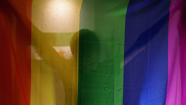 PHOTO: In this Oct. 22, 2015, photo, Daniel Halaby, a gay Syrian who fled from the Islamic State group, poses with the rainbow flag symbolic of LGBT rights in his apartment in southern Turkey.