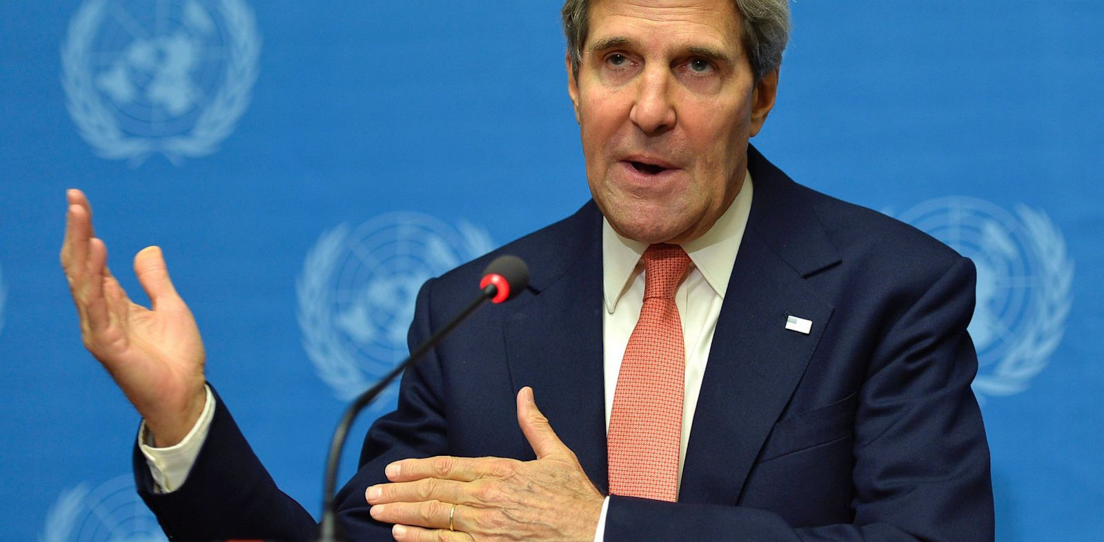 PHOTO: John Kerry, US Secretary of State, speaks during a press conference at the European headquarters of the United Nations in Geneva, Switzerland, Sept. 13, 2013