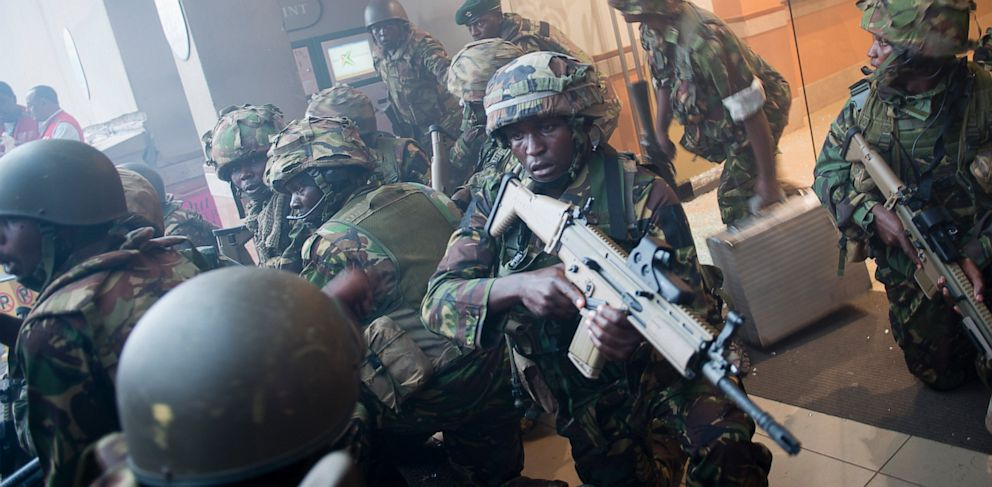 PHOTO: Armed police leave after entering the Westgate Mall in Nairobi, Kenya Saturday, Sept. 21, 2013.