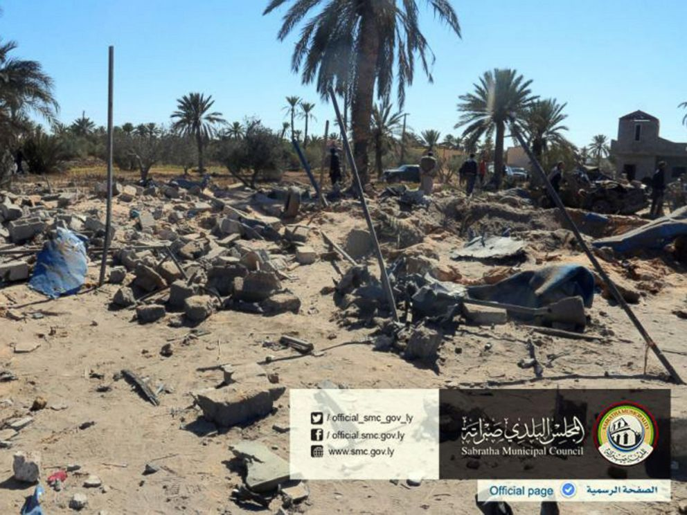 PHOTO: In this picture released online by the Sabratha Municipal Council, Feb. 19, 2016, shows the site where U.S. warplanes struck an Islamic State training camp in Sabratha, Libya near the Tunisian border.