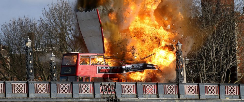 """PHOTO: A bus explodes on Lambeth Bridge, during filming for Jackie Chans new film """"The Foreigner"""" in London, Feb. 7, 2016."""