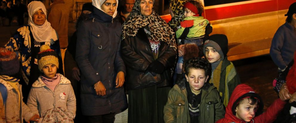PHOTO:People wait to leave the besieged town of Madaya, northwest of Damascus, Syria, Jan. 11, 2016.