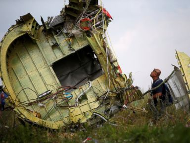 PHOTO: A Malaysian air crash investigator inspects the crash site of Malaysia Airlines Flight MH17, near the village of Hrabove (Grabovo) in Donetsk region, Ukraine, July 22, 2014.