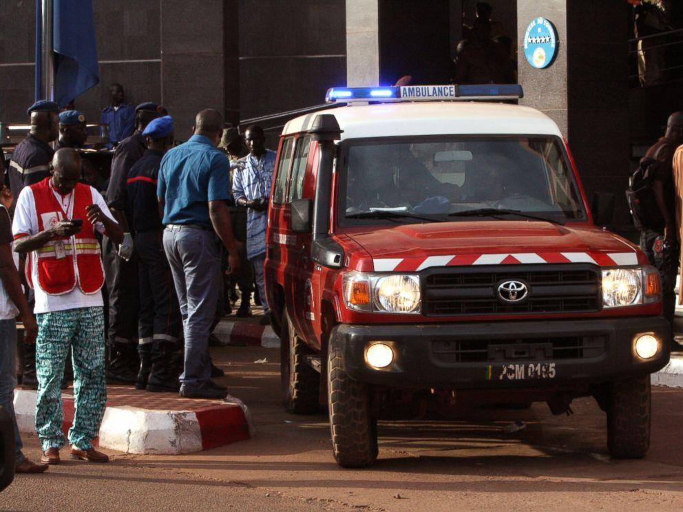 PHOTO: An ambulance is seen outside the Radisson Blu hotel in Bamako, Mali, Nov. 20, 2015.