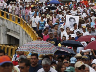 PHOTO: In this Friday, Oct. 17, 2014 photo, demonstrators protest the disappearance of 43 students from the Isidro Burgos rural teachers college in Acapulco, Guerrero state, Mexico.