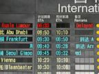 PHOTO: The arrival board at the International Airport in Beijing, China shows a Malaysian airliner is delayed, Saturday, March 8, 2014.