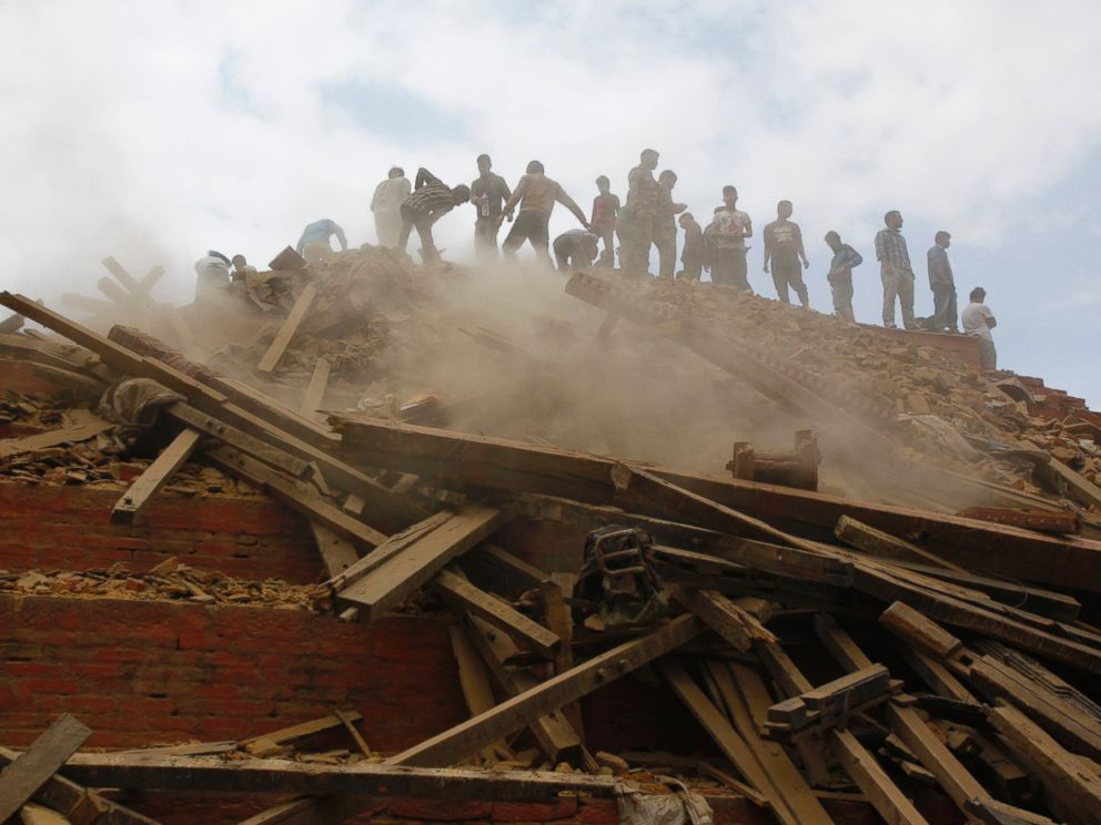 Aid for nepal how you can help earthquake victims abc news for Where do you go in an earthquake