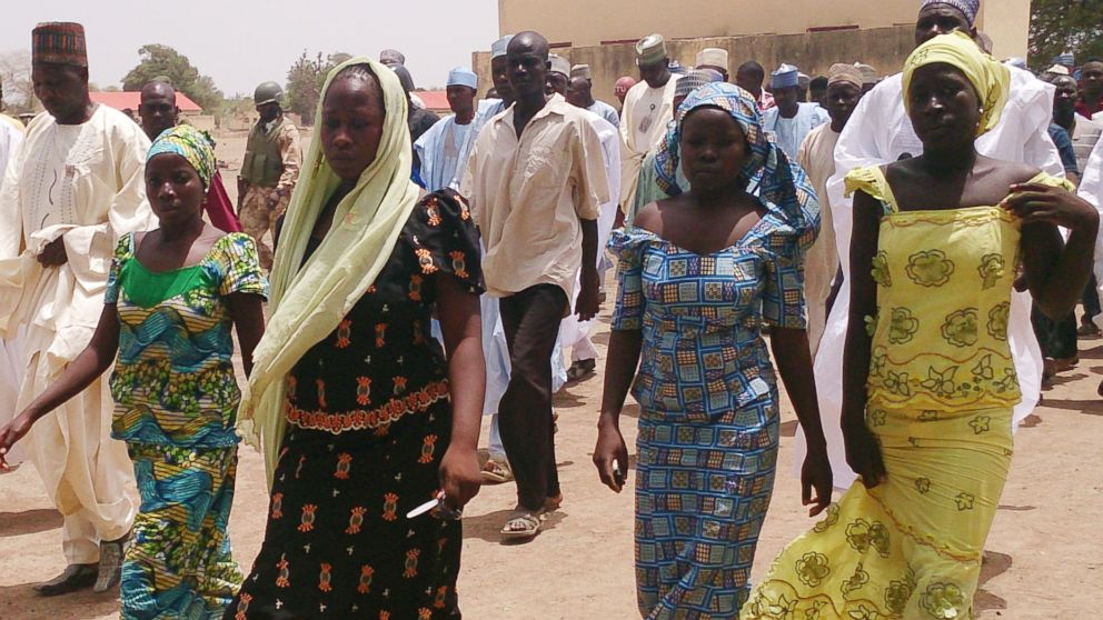 PHOTO: Four female students of the government secondary school Chibok